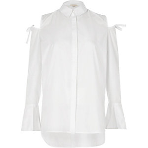 White cold shoulder bow shoulder shirt