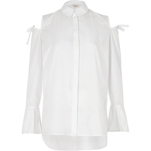 White cold shoulder bow shoulder shirt