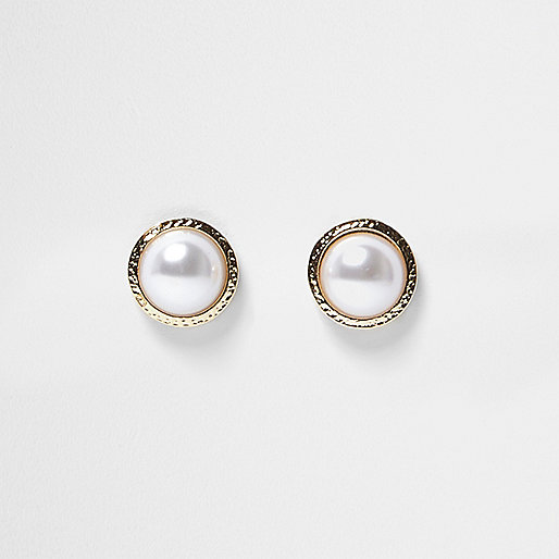 Gold tone pearl stud earrings