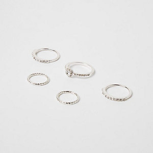 Silver tone diamante ring pack