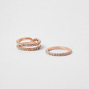 Rose gold tone rhinestone ring pack