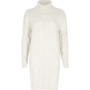Cream roll neck longline knit dress