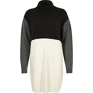 Grey colour block knitted jumper dress