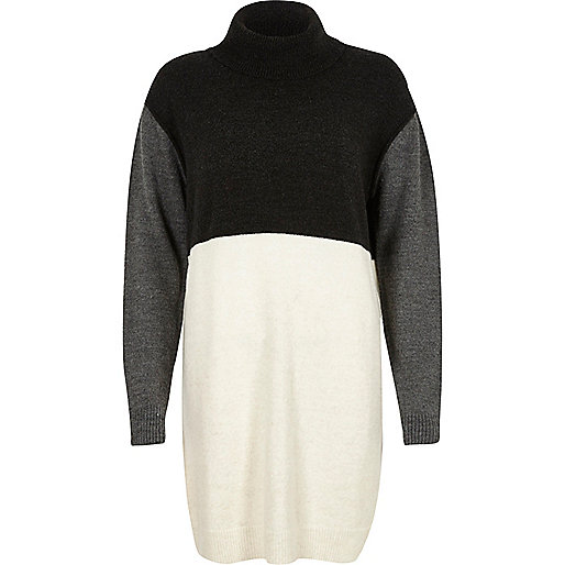 Robe pull en maille grise effet colour block