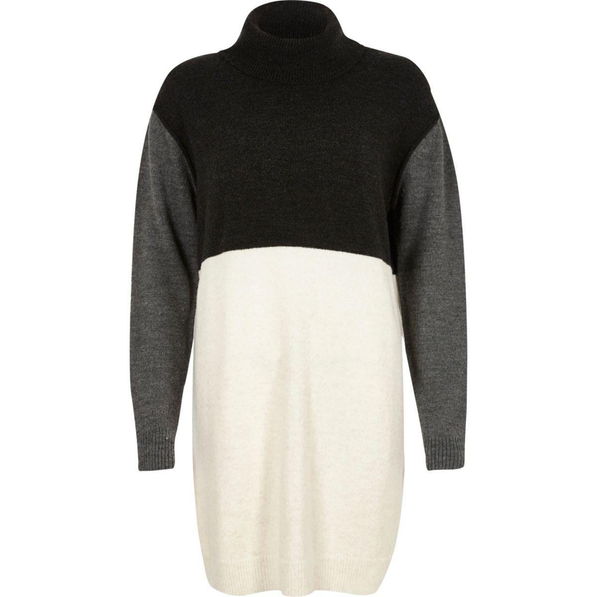 Grey colour block knitted jumper dress