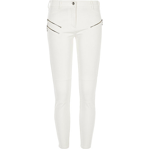 Cream ponte zip detail skinny trousers