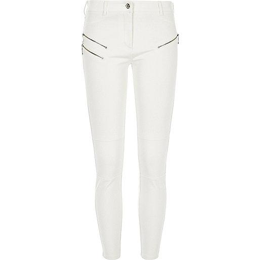 Cream ponte zip detail skinny pants