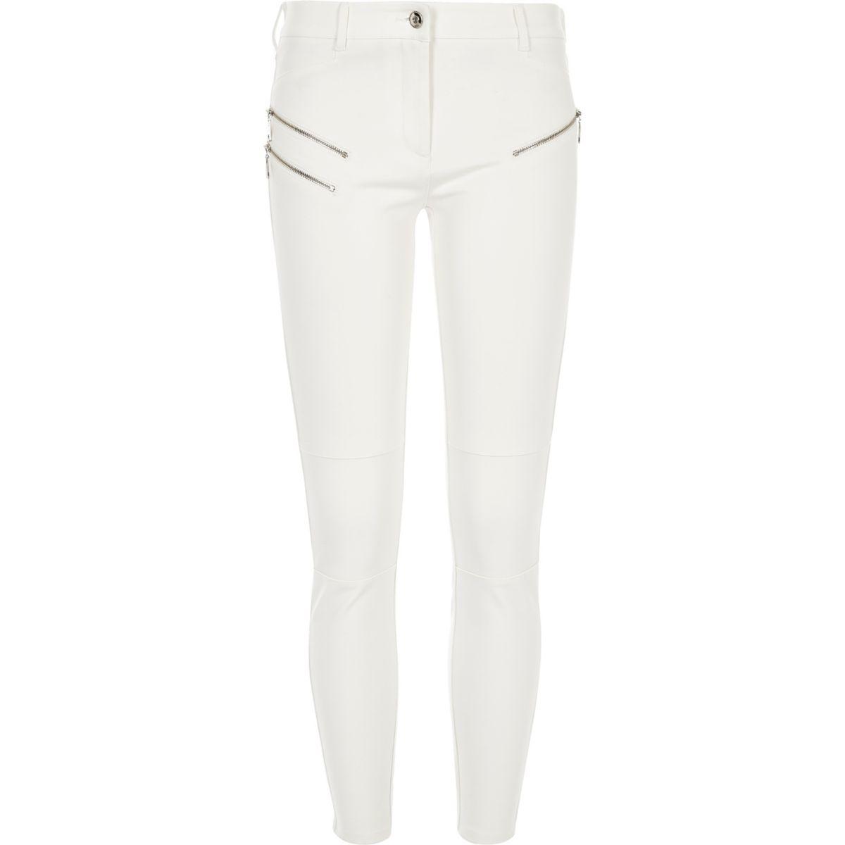 Cream ponte zip detail skinny trousers