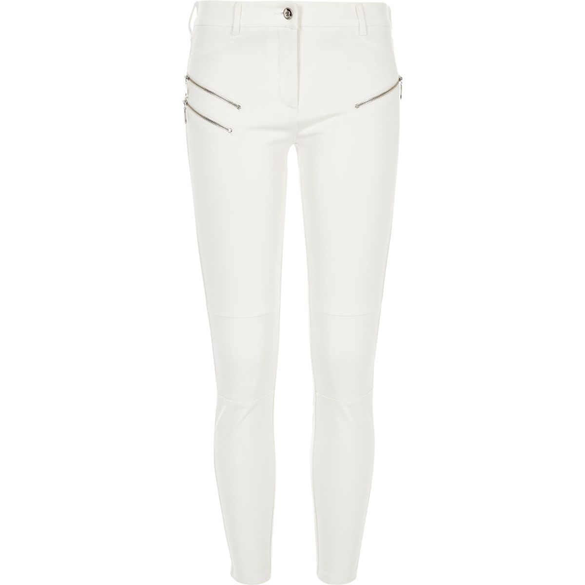 Cream ponte zip detail skinny pants