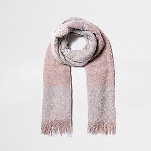Pink super soft panel scarf