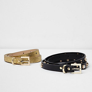 Black and gold skinny belt two pack