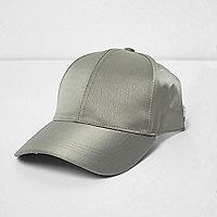 Khaki green crushed satin half cap
