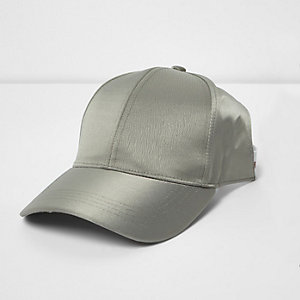 Khaki green crushed satin half baseball cap