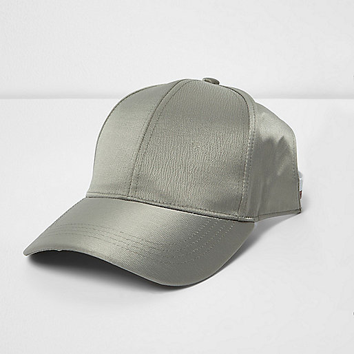 Khaki green crushed satin half baseball cap