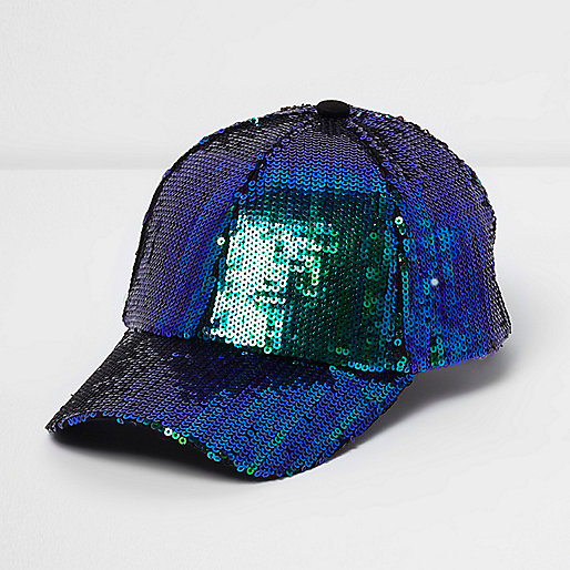 Blue mermaid sequin baseball cap