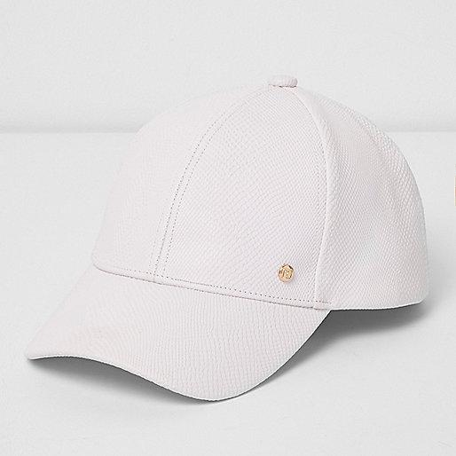 White snake embossed baseball cap