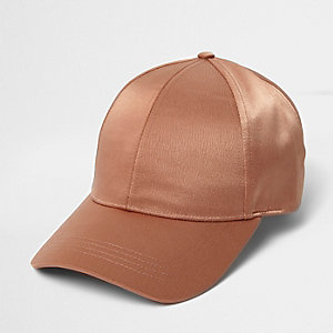 Demi-casquette de baseball en satin rose foncé