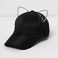 Black embellished kitten ears cap