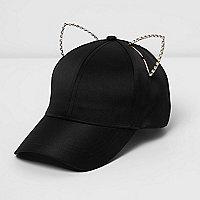 Casquette noire ornée d'oreilles de chat