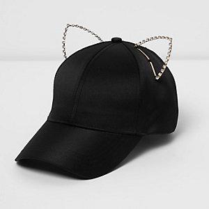 Black embellished kitten ears cap