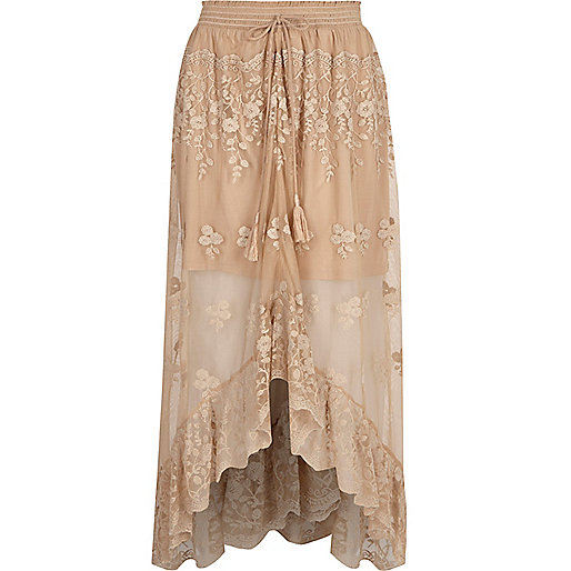Beige mesh embroidered maxi high-low skirt