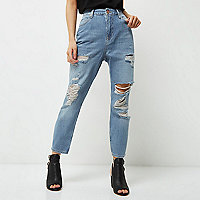 Petite light blue ripped Mom jeans