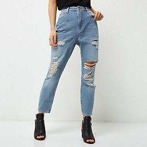 Petite light blue ripped Mom jeans