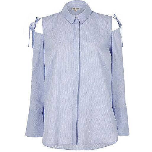Blue stripe cold shoulder bow shoulder shirt
