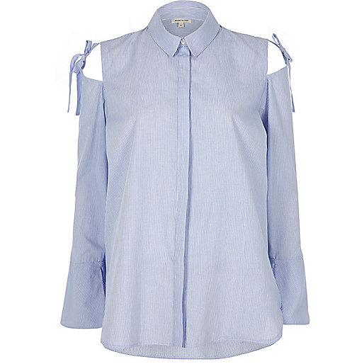 Blue stripe cold shoulder bow shoulder shirt