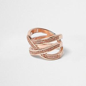 Rose gold glitter criscross ring