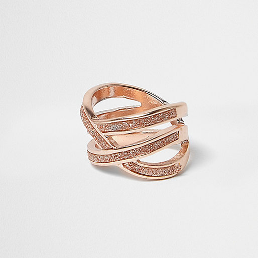 Rose gold glitter criscross ring