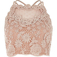 Light pink lace mesh crop top