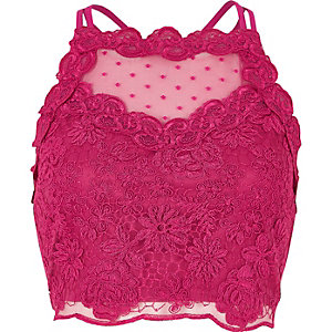 Pink lace mesh crop top