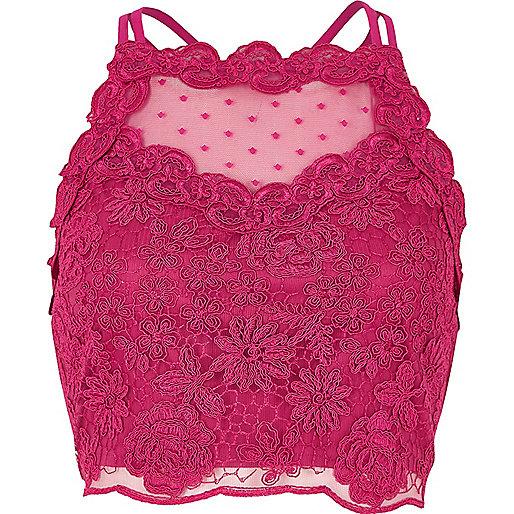 Pink lace mesh crop top