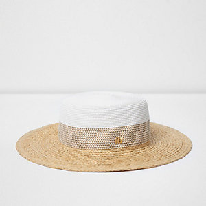 White flat brim straw hat