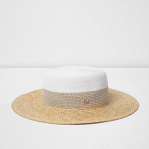 White flat brim straw hat