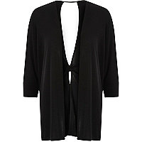 Black knit twist back cardigan