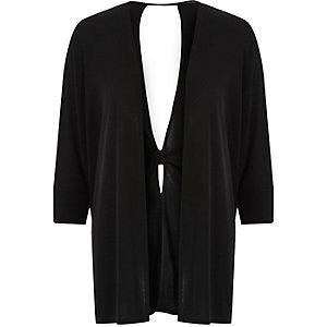 Cardigan en maille noir avec torsade dans le dos
