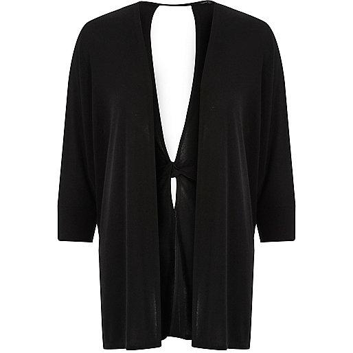 Black knit twist back cardigan