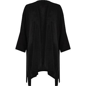 Black 3/4 sleeve tie kimono cardigan