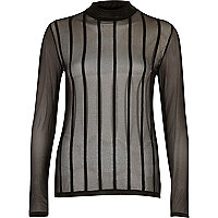 Black stripe mesh turtle neck top