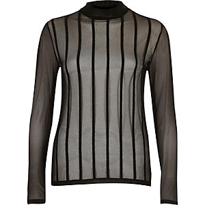 Black stripe mesh turtle neck top