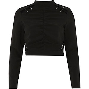 Black ruched cut out high neck crop top