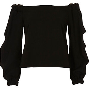 Black ruched sleeve bardot top