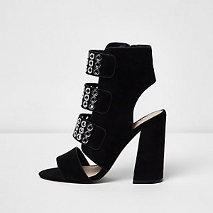Black strappy eyelet block heel sandals