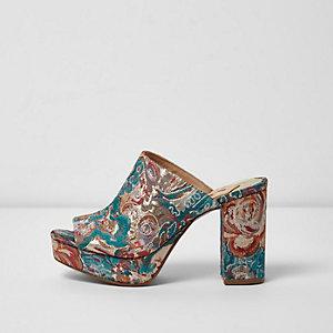 Pink jacquard block heel mules