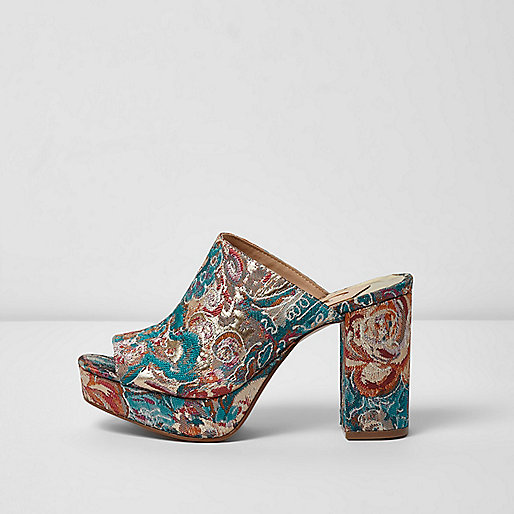 Pink and blue jacquard block heel mules