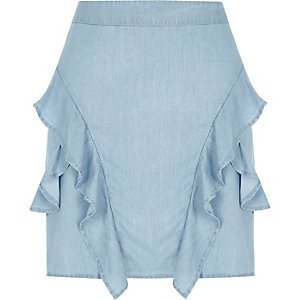 Light blue frill mini skirt