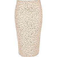 Pink lace glitter high waisted pencil skirt
