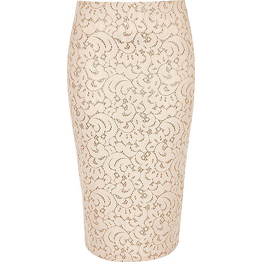 Pink lace glitter high waisted pencil skirt